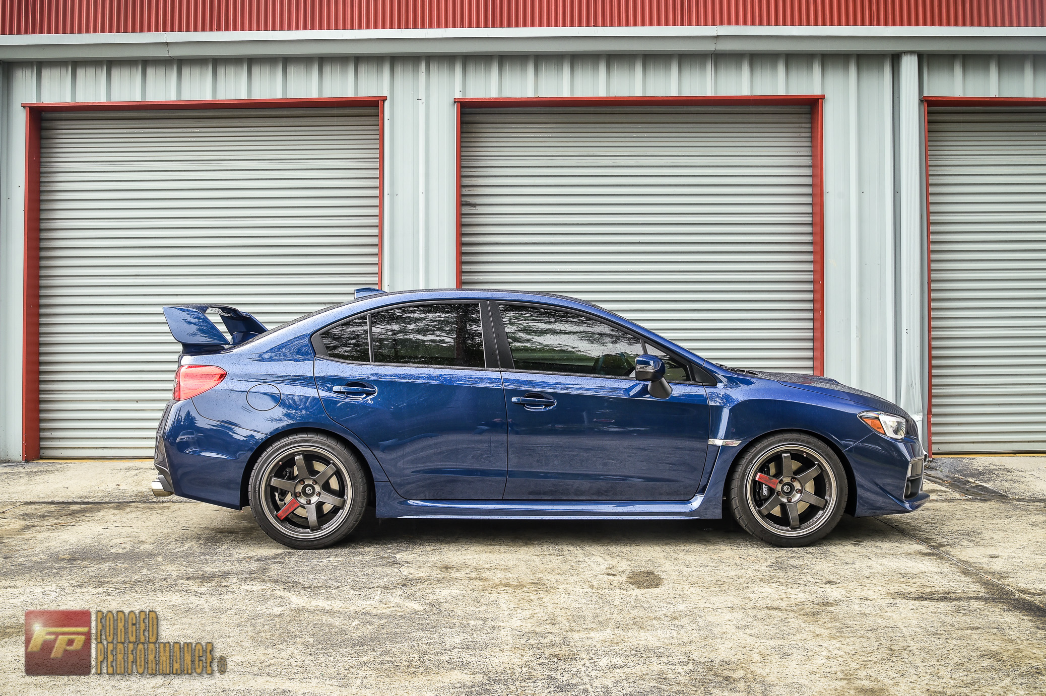 Forged Performance's 2015 STI sitting on 18×10 +40mm Volk Racing TE37SLs!!